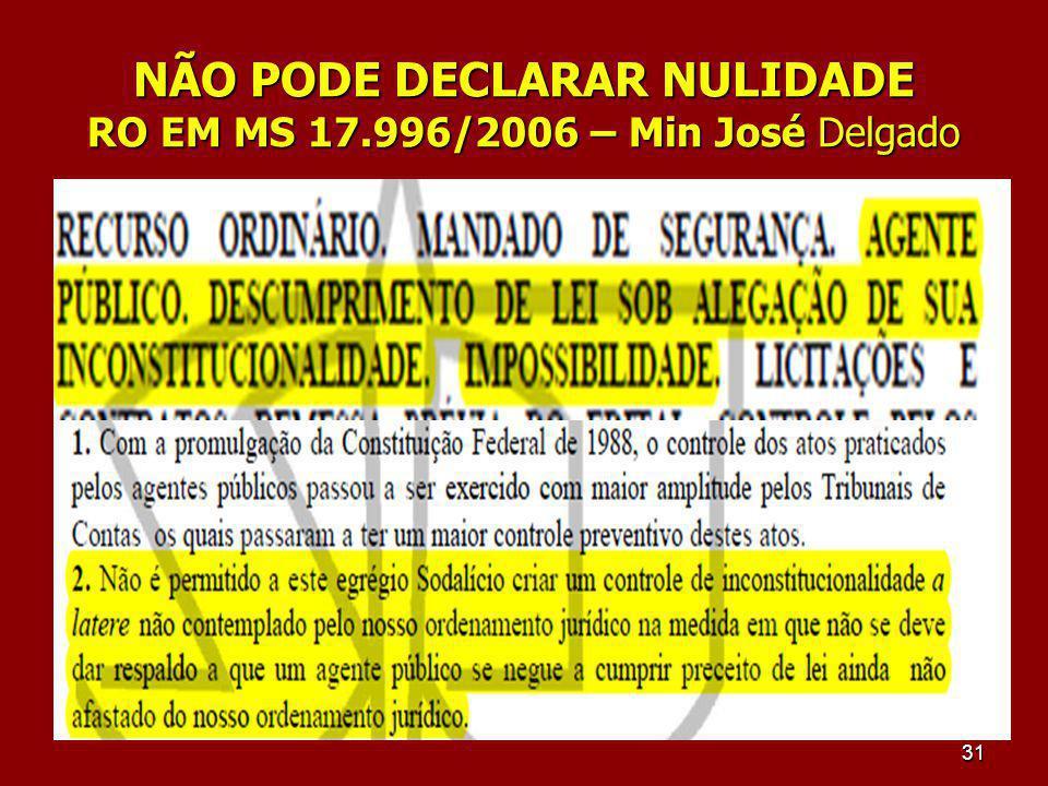 NÃO PODE DECLARAR NULIDADE RO EM MS 17.996/2006 – Min José Delgado