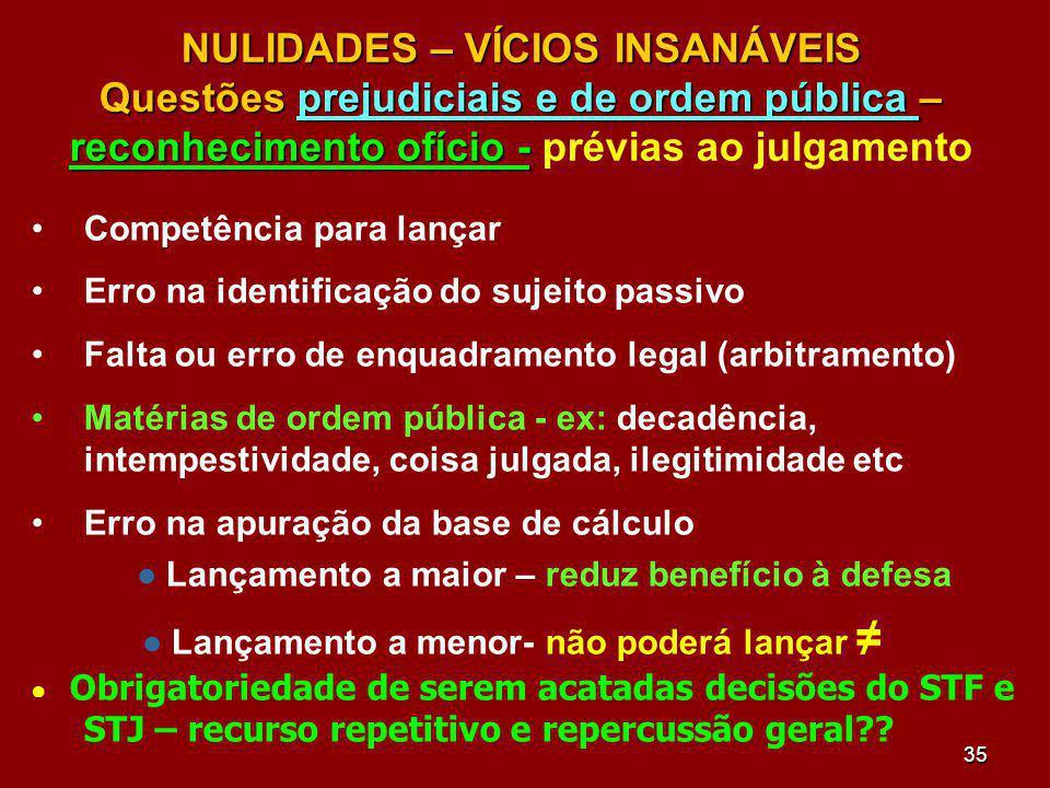 NULIDADES – VÍCIOS INSANÁVEIS Questões prejudiciais e de ordem pública – reconhecimento ofício - prévias ao julgamento