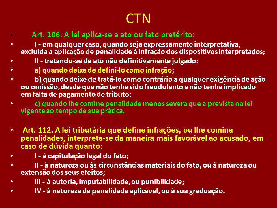 CTN Art. 106. A lei aplica-se a ato ou fato pretérito: