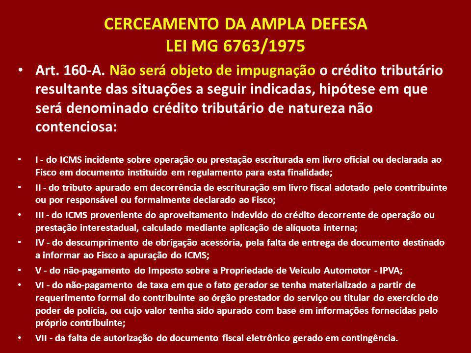 CERCEAMENTO DA AMPLA DEFESA LEI MG 6763/1975