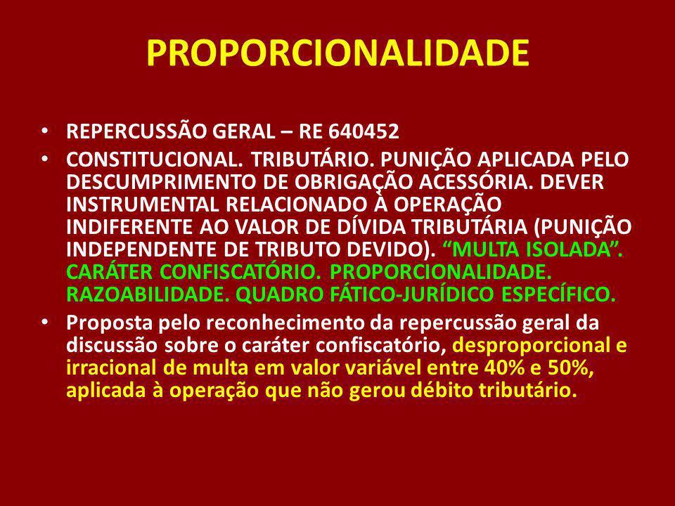 PROPORCIONALIDADE REPERCUSSÃO GERAL – RE 640452