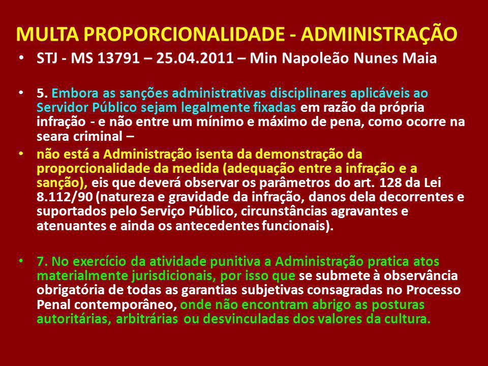 MULTA PROPORCIONALIDADE - ADMINISTRAÇÃO