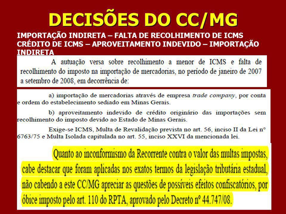 DECISÕES DO CC/MG IMPORTAÇÃO INDIRETA – FALTA DE RECOLHIMENTO DE ICMS