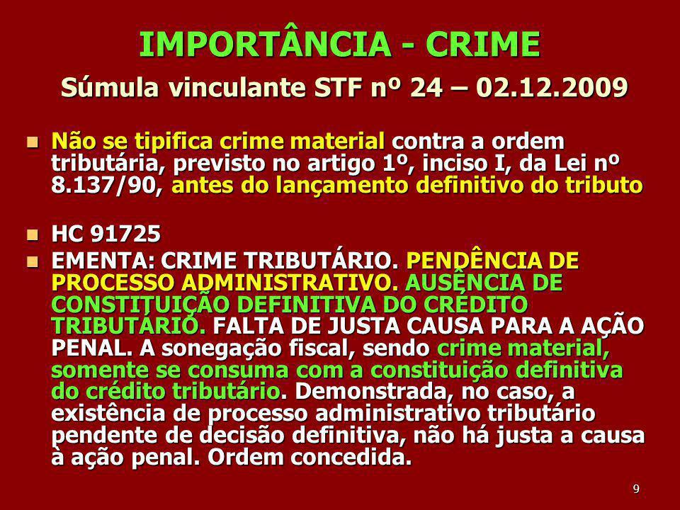 IMPORTÂNCIA - CRIME Súmula vinculante STF nº 24 – 02.12.2009