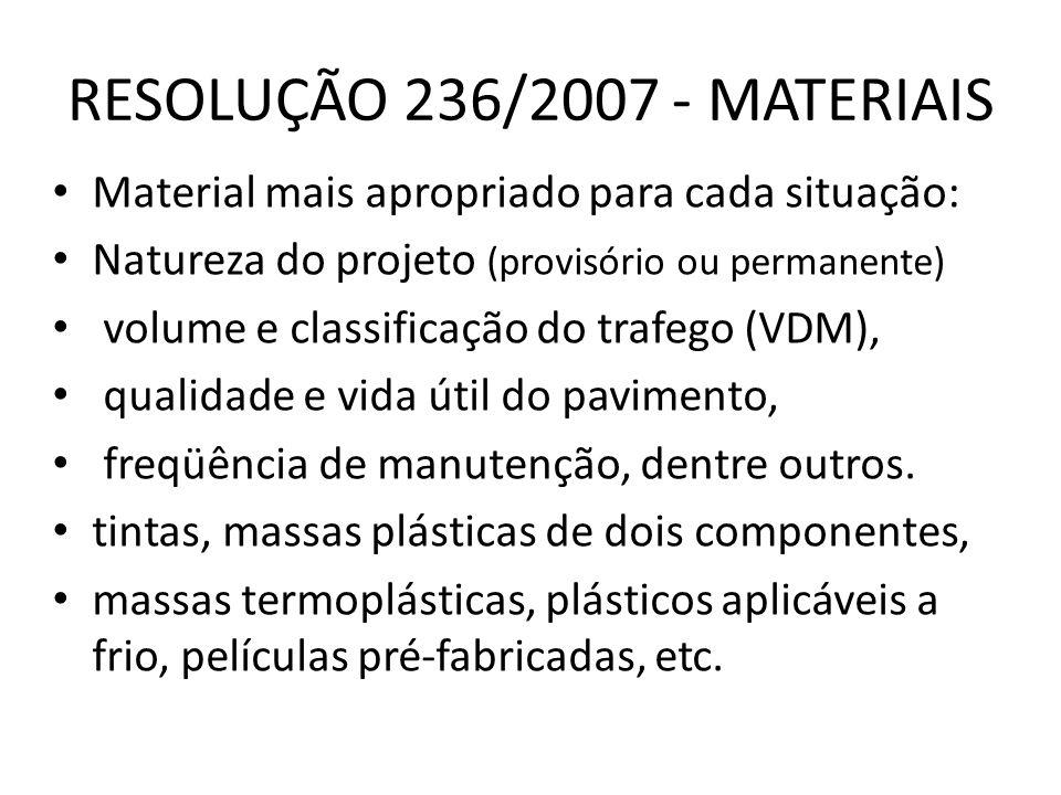 RESOLUÇÃO 236/2007 - MATERIAIS