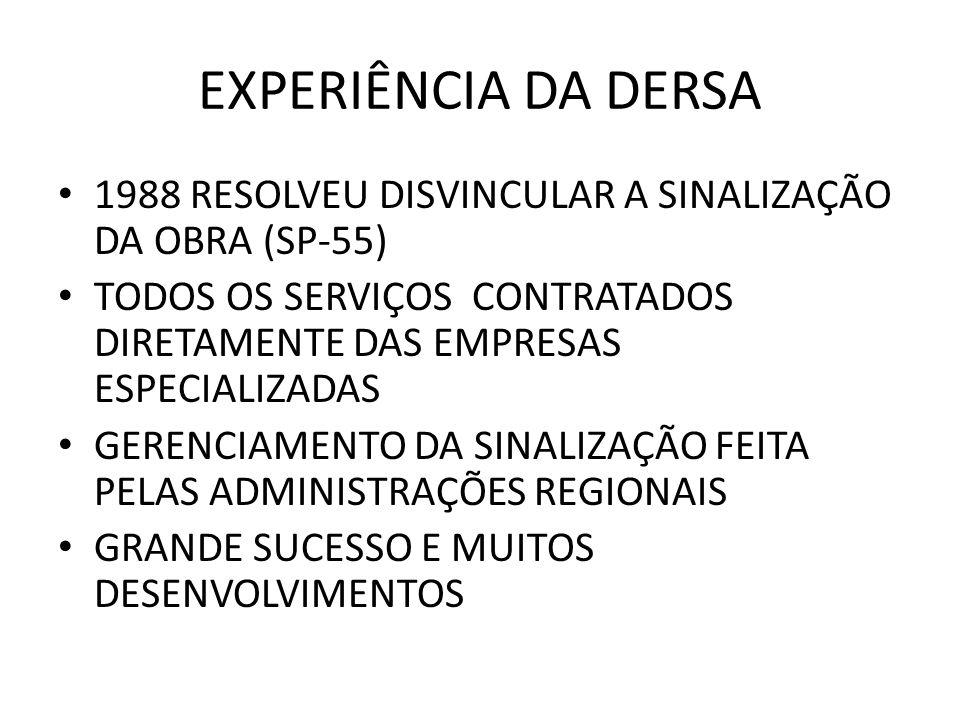 EXPERIÊNCIA DA DERSA 1988 RESOLVEU DISVINCULAR A SINALIZAÇÃO DA OBRA (SP-55) TODOS OS SERVIÇOS CONTRATADOS DIRETAMENTE DAS EMPRESAS ESPECIALIZADAS.
