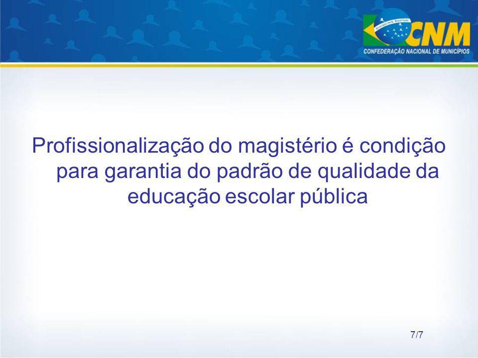 Profissionalização do magistério é condição para garantia do padrão de qualidade da educação escolar pública