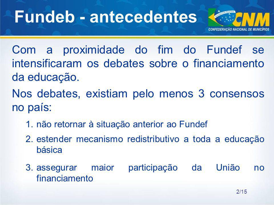 Fundeb - antecedentes Com a proximidade do fim do Fundef se intensificaram os debates sobre o financiamento da educação.