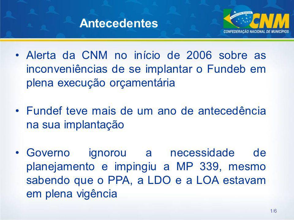 Antecedentes Alerta da CNM no início de 2006 sobre as inconveniências de se implantar o Fundeb em plena execução orçamentária.