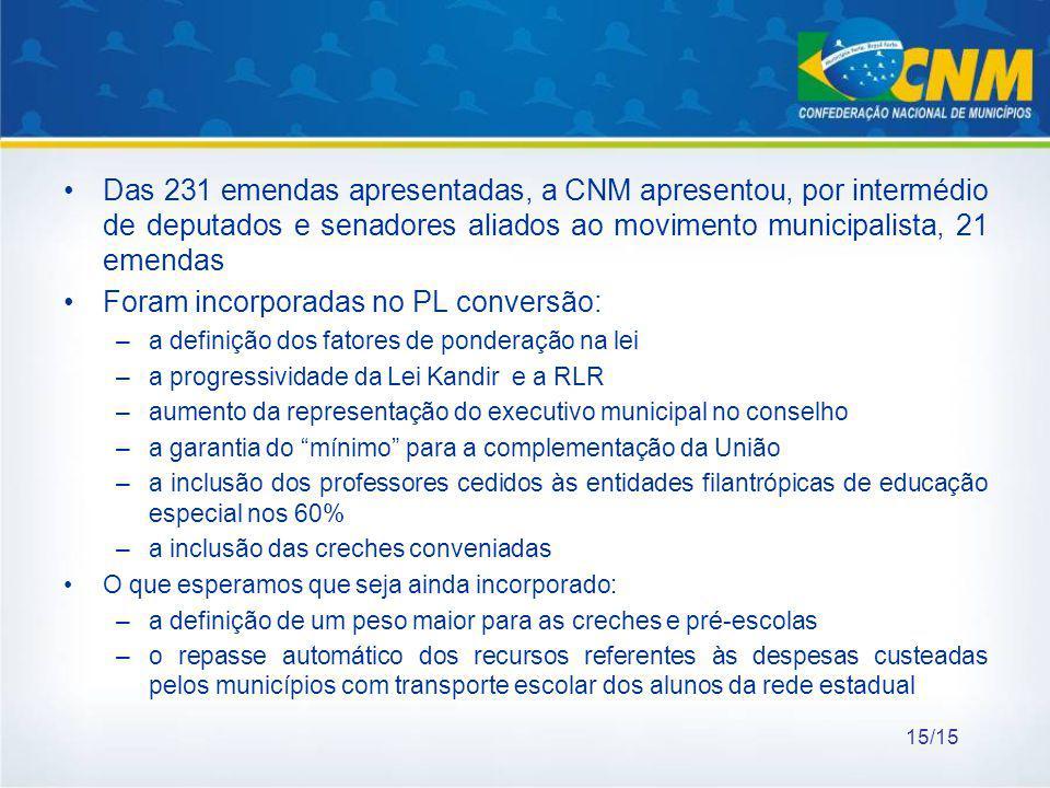 Foram incorporadas no PL conversão: