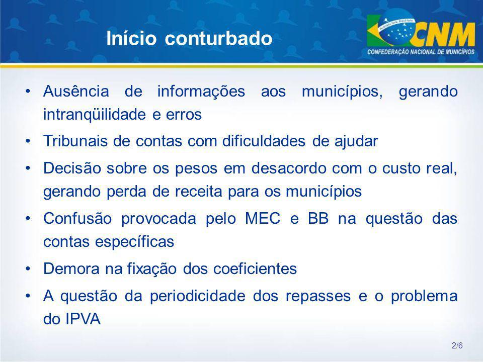 Início conturbado Ausência de informações aos municípios, gerando intranqüilidade e erros. Tribunais de contas com dificuldades de ajudar.