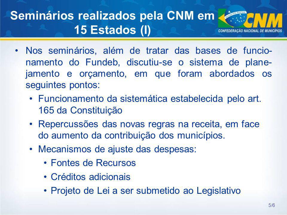 Seminários realizados pela CNM em 15 Estados (I)