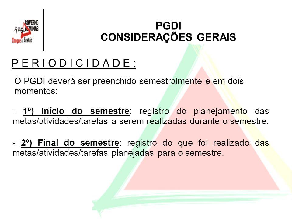 PGDI CONSIDERAÇÕES GERAIS