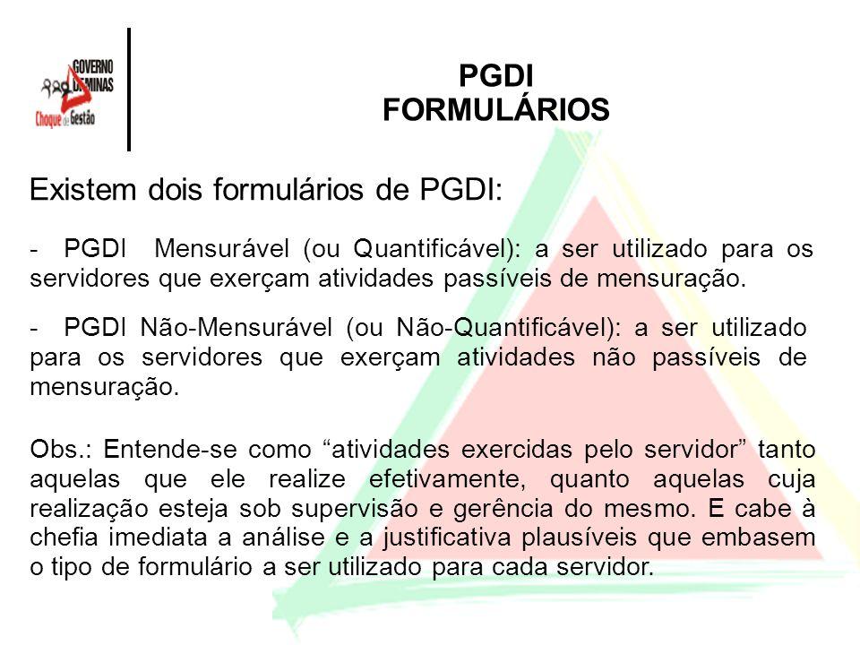 Existem dois formulários de PGDI: