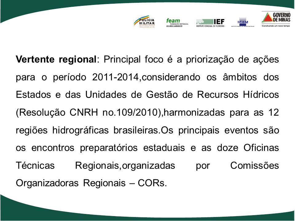 Vertente regional: Principal foco é a priorização de ações para o período 2011-2014,considerando os âmbitos dos Estados e das Unidades de Gestão de Recursos Hídricos (Resolução CNRH no.109/2010),harmonizadas para as 12 regiões hidrográficas brasileiras.Os principais eventos são os encontros preparatórios estaduais e as doze Oficinas Técnicas Regionais,organizadas por Comissões Organizadoras Regionais – CORs.