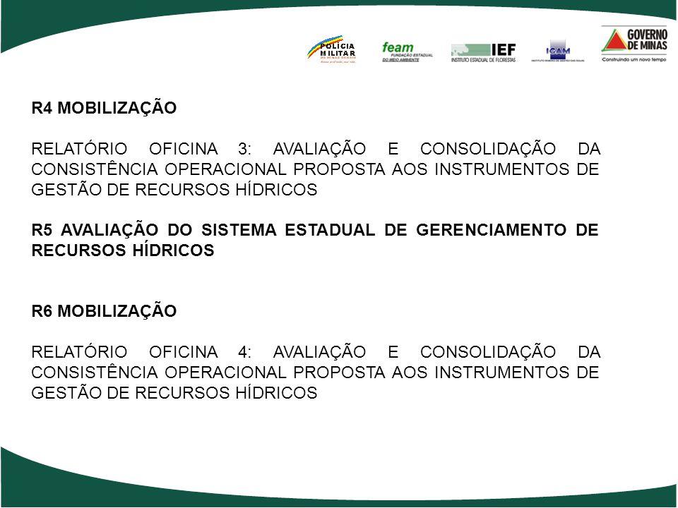 R4 MOBILIZAÇÃO RELATÓRIO OFICINA 3: AVALIAÇÃO E CONSOLIDAÇÃO DA CONSISTÊNCIA OPERACIONAL PROPOSTA AOS INSTRUMENTOS DE GESTÃO DE RECURSOS HÍDRICOS.