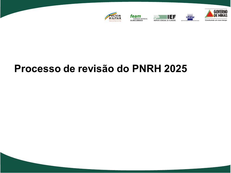 Processo de revisão do PNRH 2025