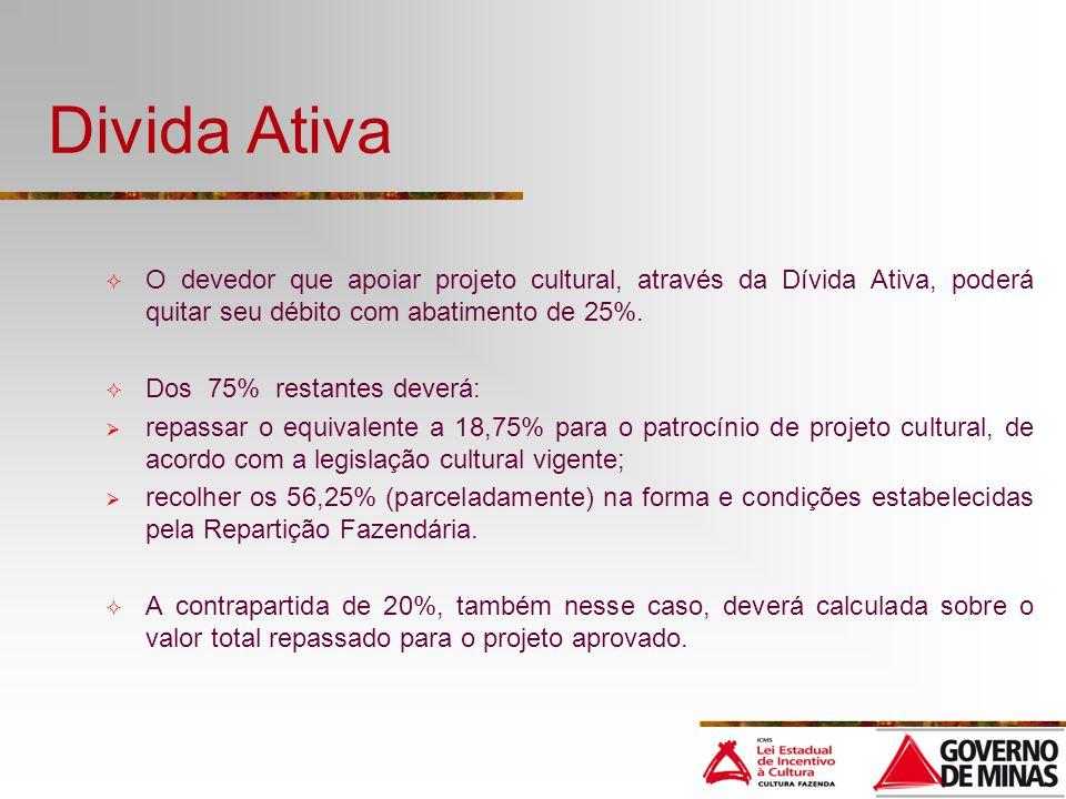 Divida Ativa O devedor que apoiar projeto cultural, através da Dívida Ativa, poderá quitar seu débito com abatimento de 25%.