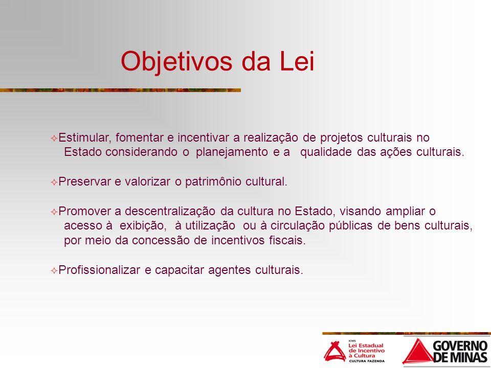 Objetivos da Lei Estimular, fomentar e incentivar a realização de projetos culturais no.