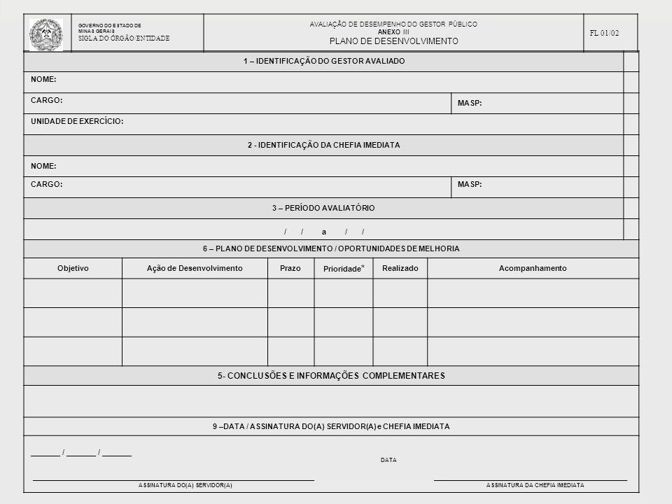 PLANO DE DESENVOLVIMENTO 5- CONCLUSÕES E INFORMAÇÕES COMPLEMENTARES