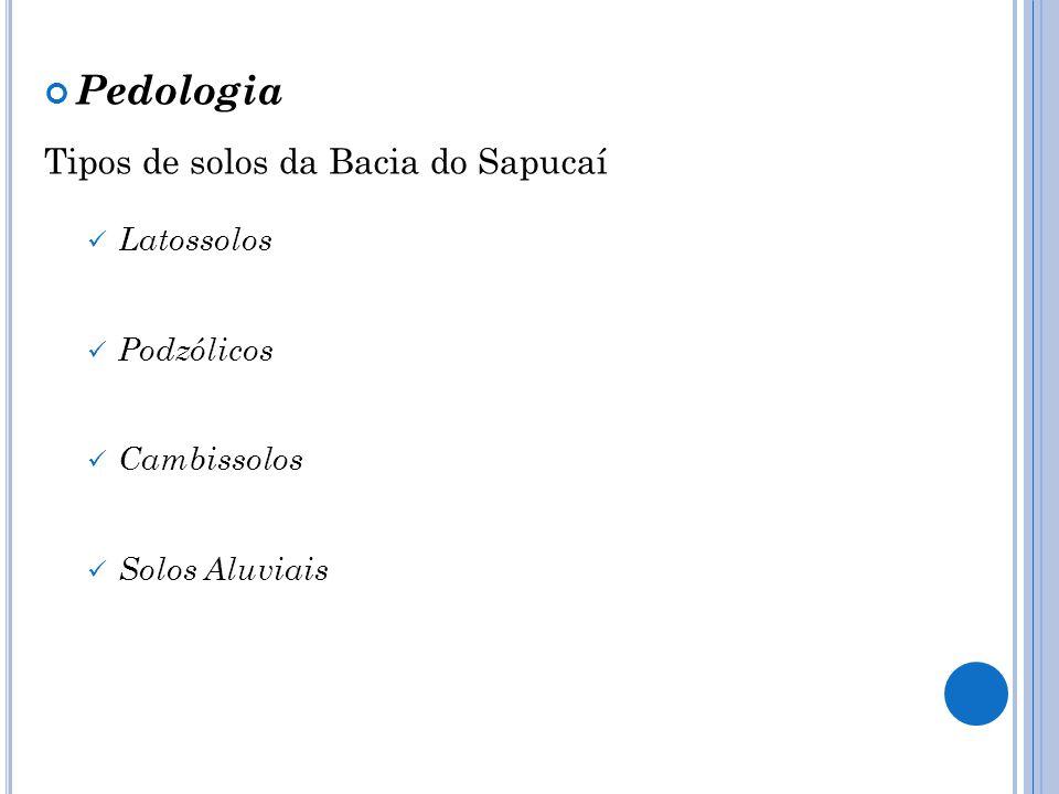 Pedologia Tipos de solos da Bacia do Sapucaí Latossolos Podzólicos