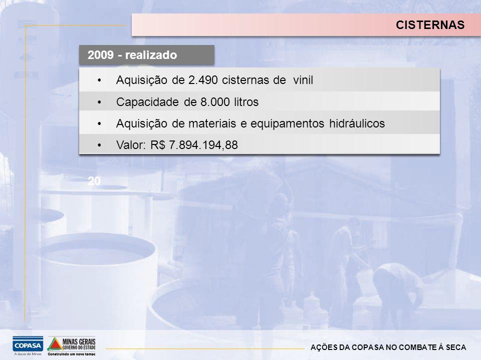 Aquisição de 2.490 cisternas de vinil Capacidade de 8.000 litros