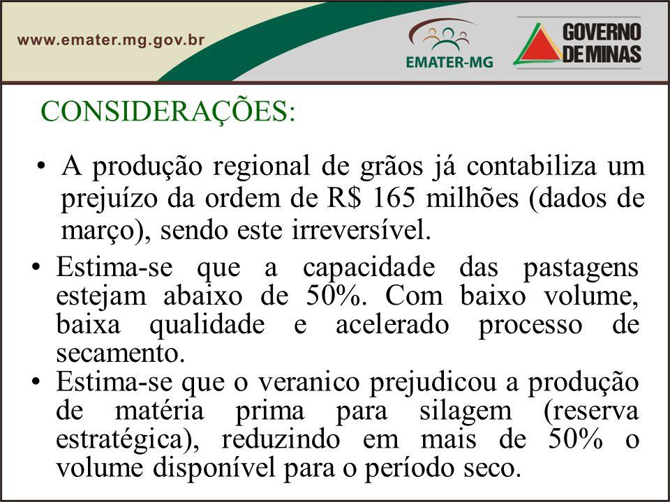 CONSIDERAÇÕES: A produção regional de grãos já contabiliza um prejuízo da ordem de R$ 165 milhões (dados de março), sendo este irreversível.