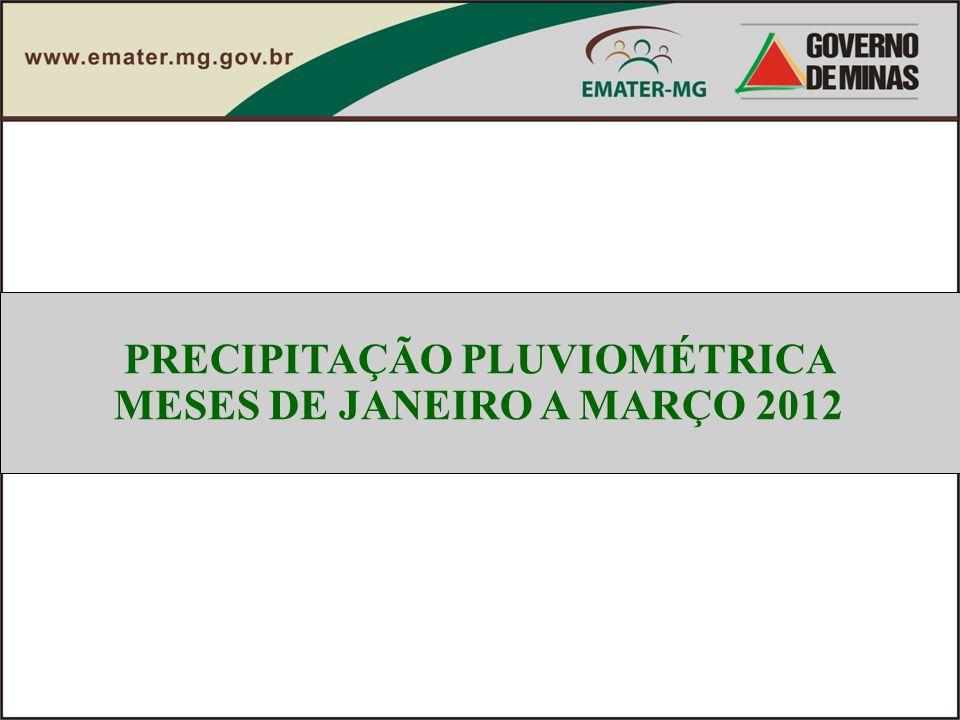 PRECIPITAÇÃO PLUVIOMÉTRICA MESES DE JANEIRO A MARÇO 2012