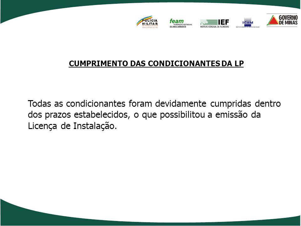 CUMPRIMENTO DAS CONDICIONANTES DA LP