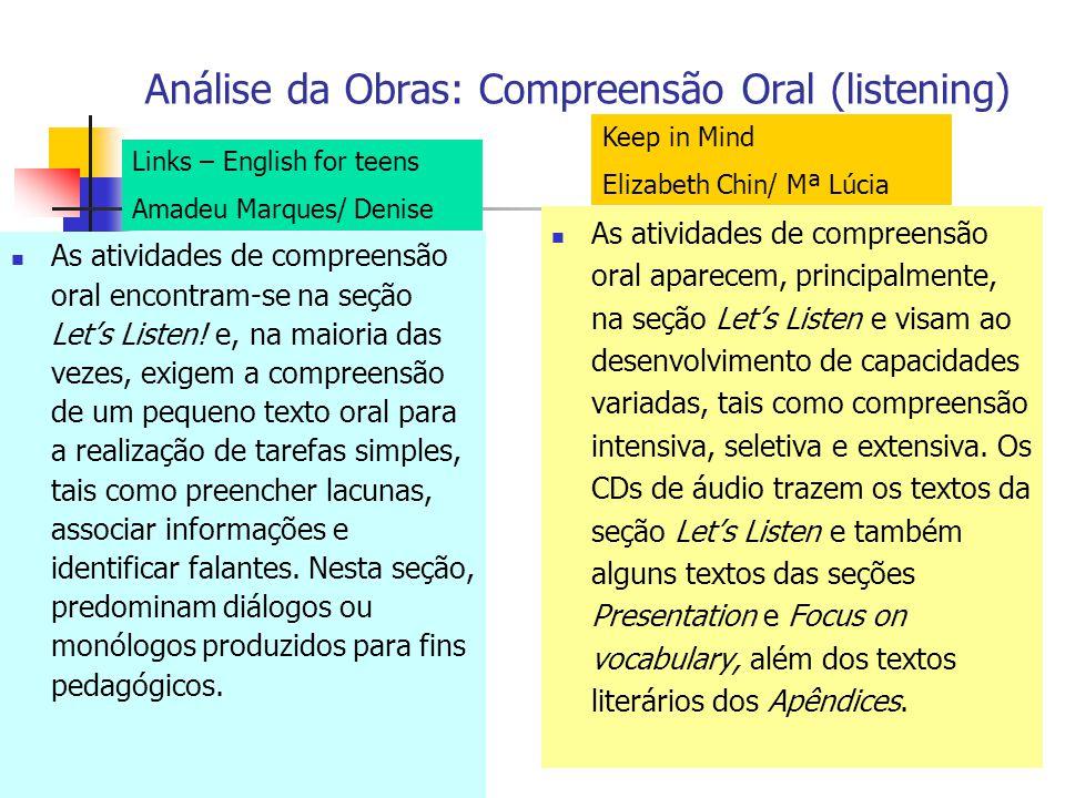 Análise da Obras: Compreensão Oral (listening)