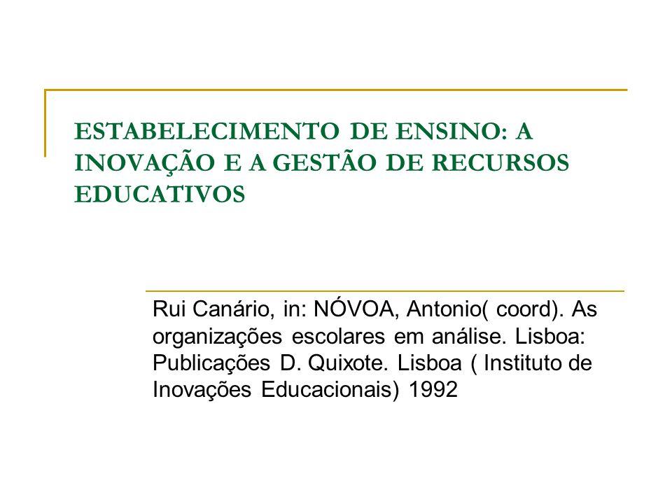 ESTABELECIMENTO DE ENSINO: A INOVAÇÃO E A GESTÃO DE RECURSOS EDUCATIVOS