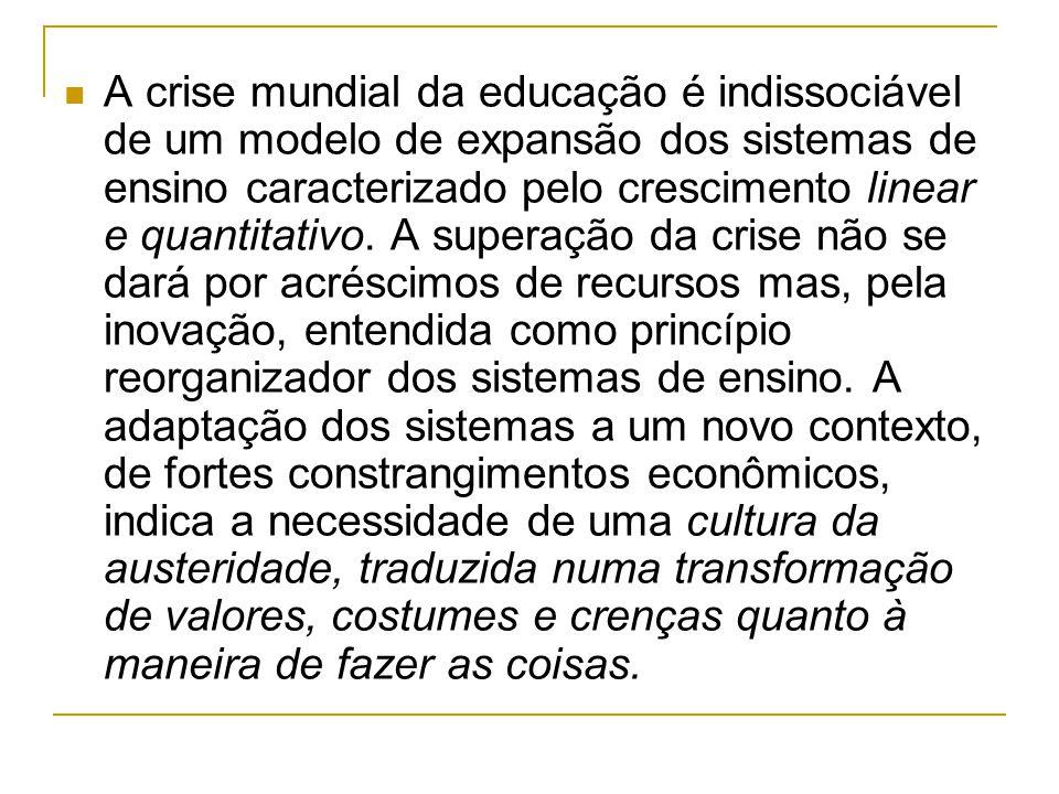 A crise mundial da educação é indissociável de um modelo de expansão dos sistemas de ensino caracterizado pelo crescimento linear e quantitativo.