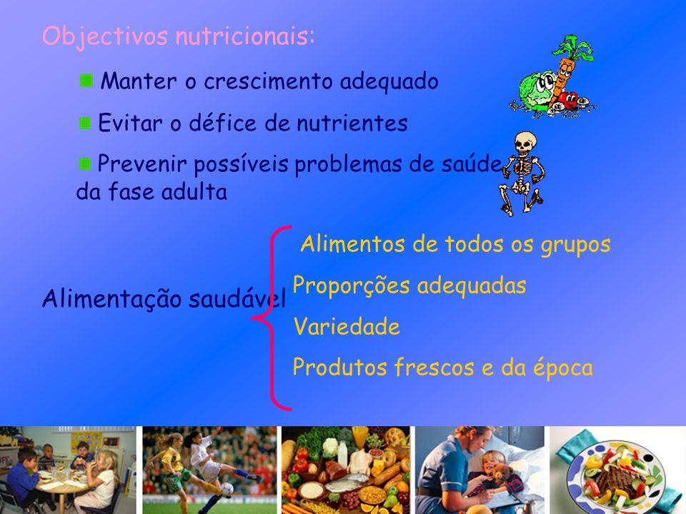 Objectivos nutricionais: Manter o crescimento adequado