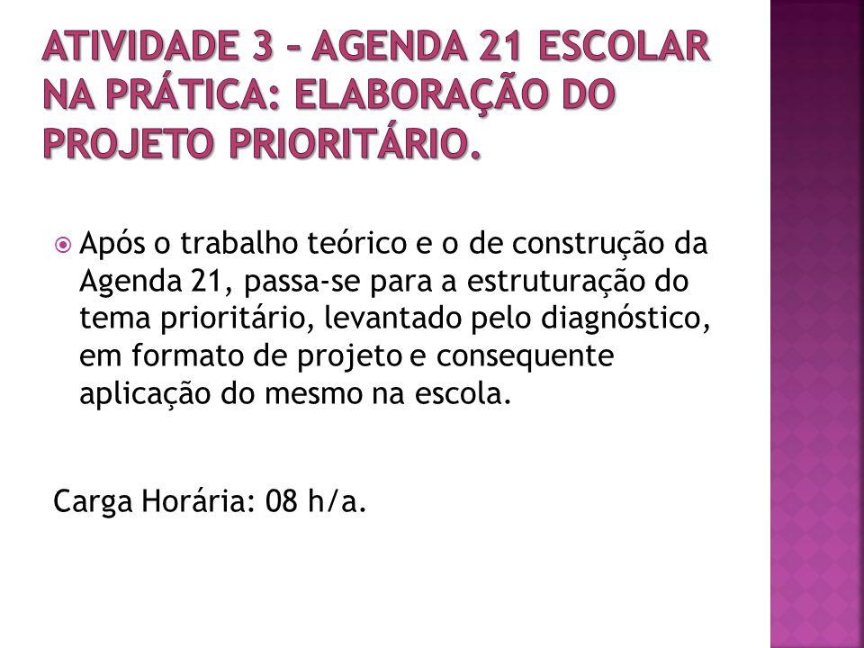 ATIVIDADE 3 – Agenda 21 Escolar na prática: elaboração do projeto prioritário.