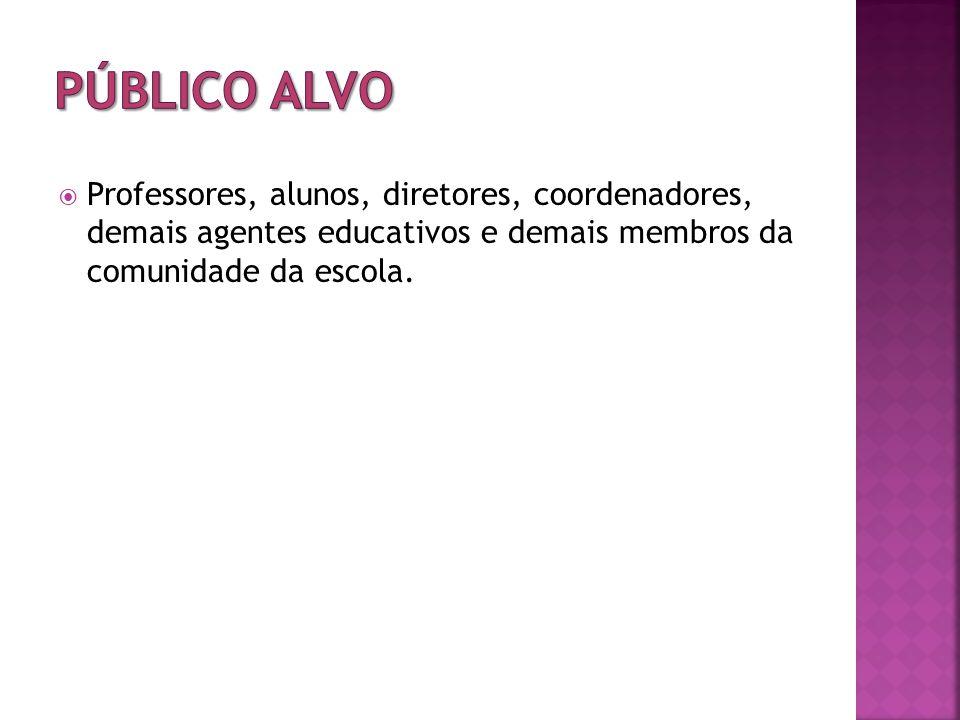 PÚBLICO ALVO Professores, alunos, diretores, coordenadores, demais agentes educativos e demais membros da comunidade da escola.