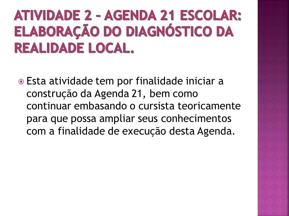 ATIVIDADE 2 – Agenda 21 Escolar: elaboração do diagnóstico da realidade local.