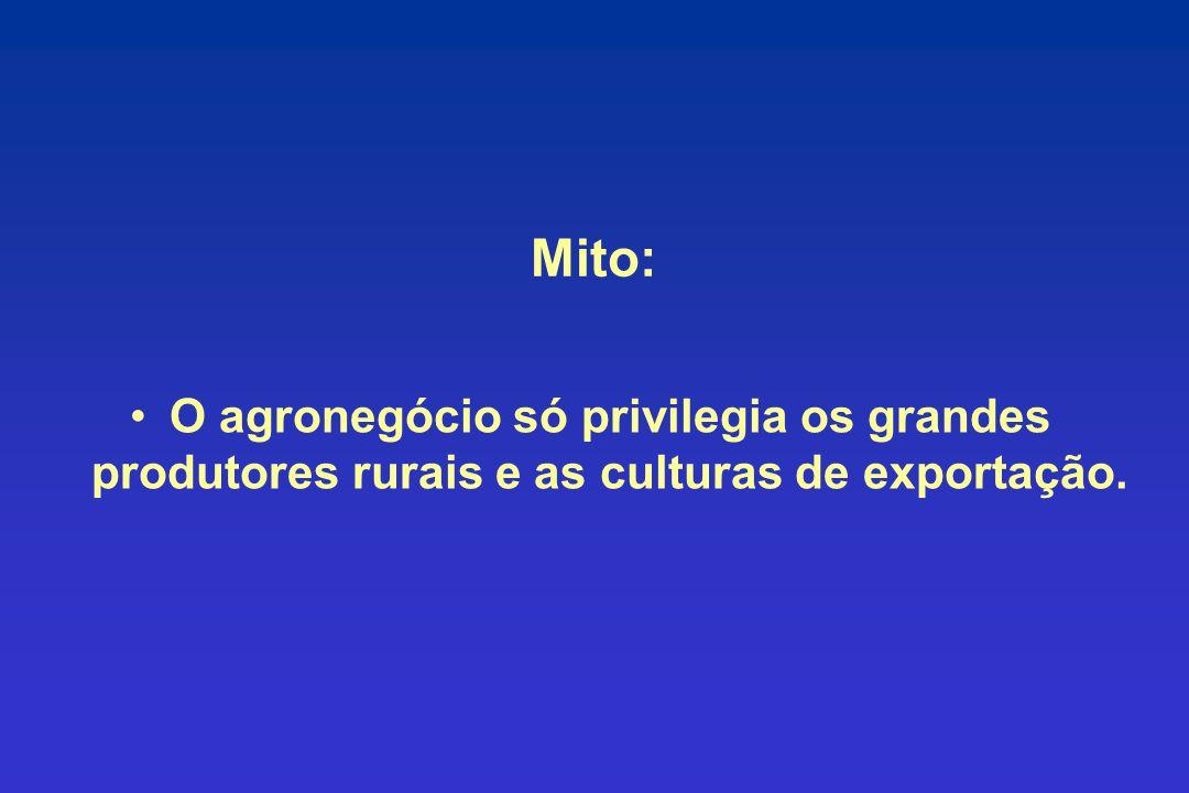 Mito: O agronegócio só privilegia os grandes produtores rurais e as culturas de exportação.