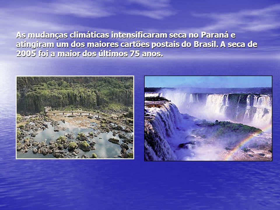 As mudanças climáticas intensificaram seca no Paraná e atingiram um dos maiores cartões postais do Brasil.