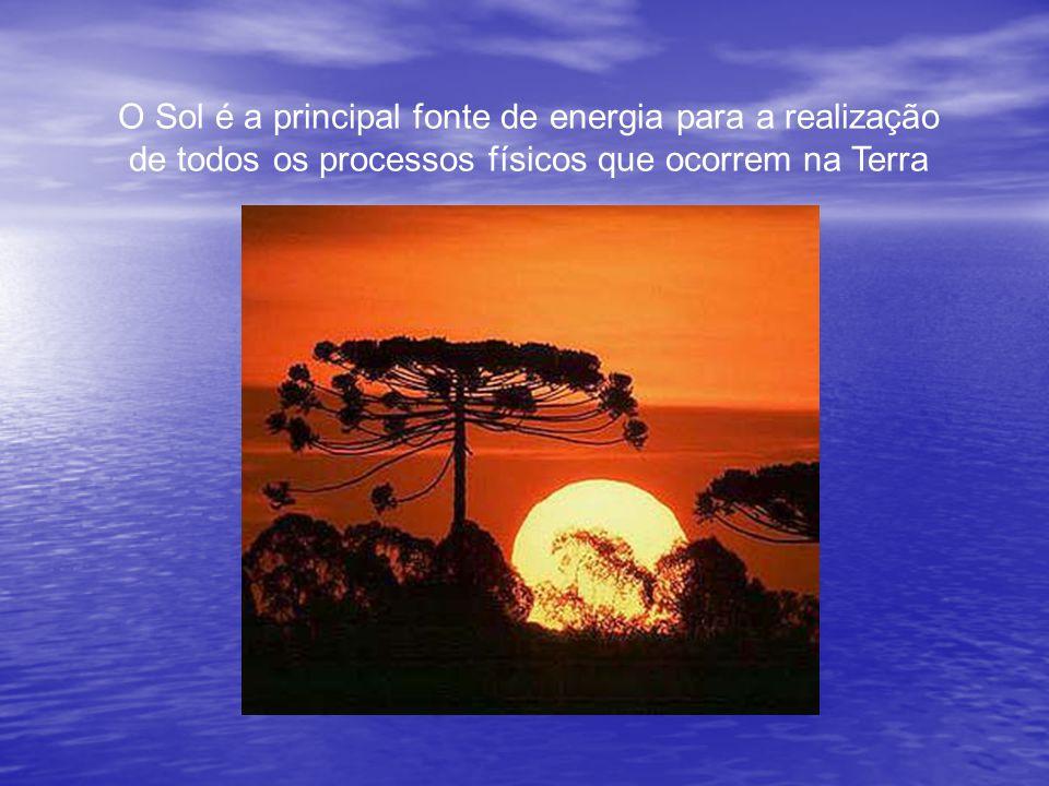 O Sol é a principal fonte de energia para a realização de todos os processos físicos que ocorrem na Terra