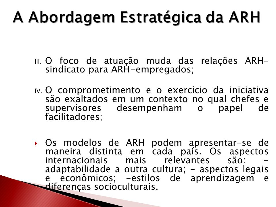 A Abordagem Estratégica da ARH