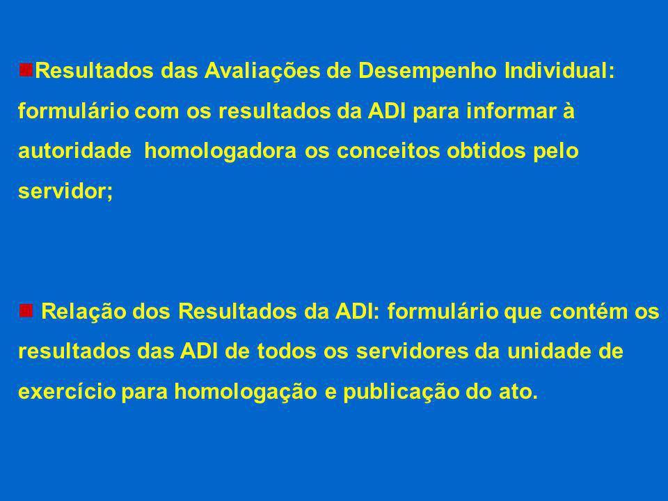 Resultados das Avaliações de Desempenho Individual: formulário com os resultados da ADI para informar à autoridade homologadora os conceitos obtidos pelo servidor;