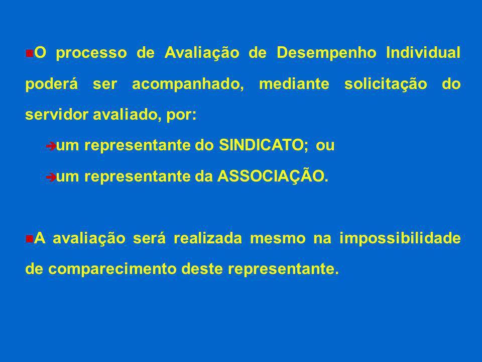 O processo de Avaliação de Desempenho Individual poderá ser acompanhado, mediante solicitação do servidor avaliado, por: