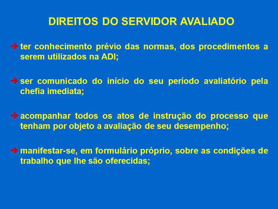 DIREITOS DO SERVIDOR AVALIADO
