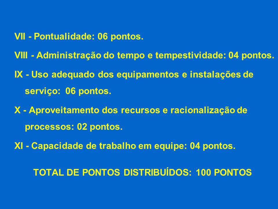TOTAL DE PONTOS DISTRIBUÍDOS: 100 PONTOS
