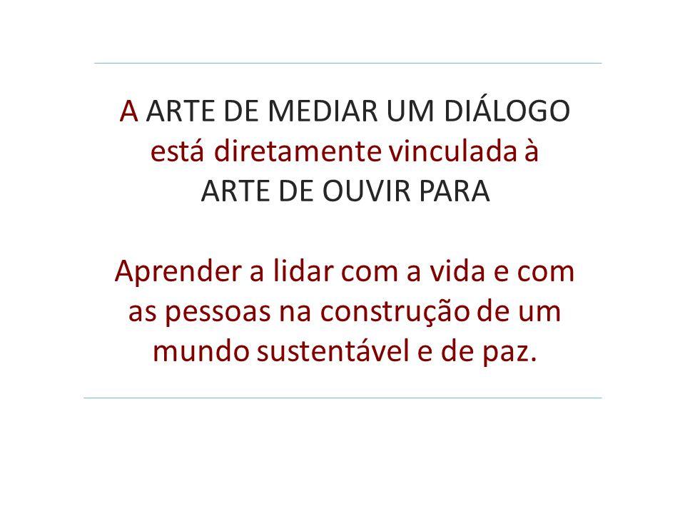 A ARTE DE MEDIAR UM DIÁLOGO está diretamente vinculada à ARTE DE OUVIR PARA