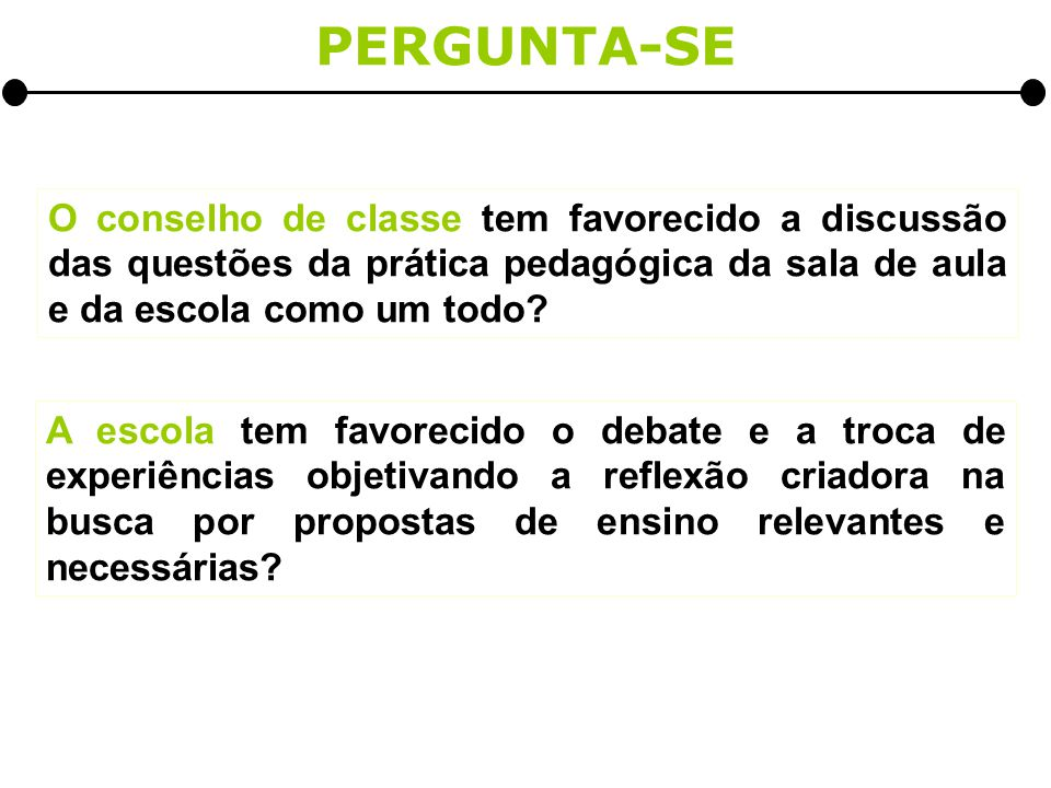 PERGUNTA-SE O conselho de classe tem favorecido a discussão das questões da prática pedagógica da sala de aula e da escola como um todo