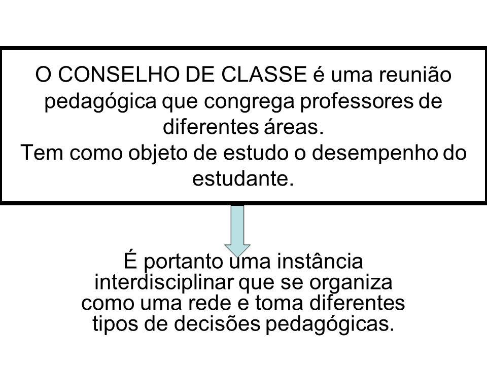 O CONSELHO DE CLASSE é uma reunião pedagógica que congrega professores de diferentes áreas. Tem como objeto de estudo o desempenho do estudante.