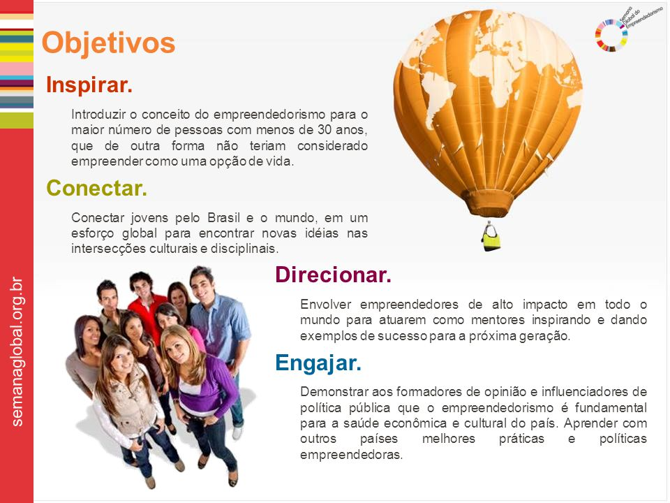 Objetivos Inspirar. Conectar. Direcionar. Engajar. semanaglobal.org.br