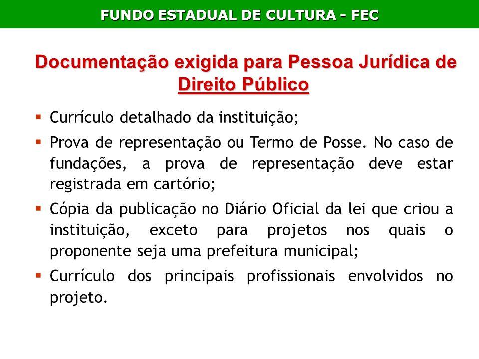 Documentação exigida para Pessoa Jurídica de Direito Público