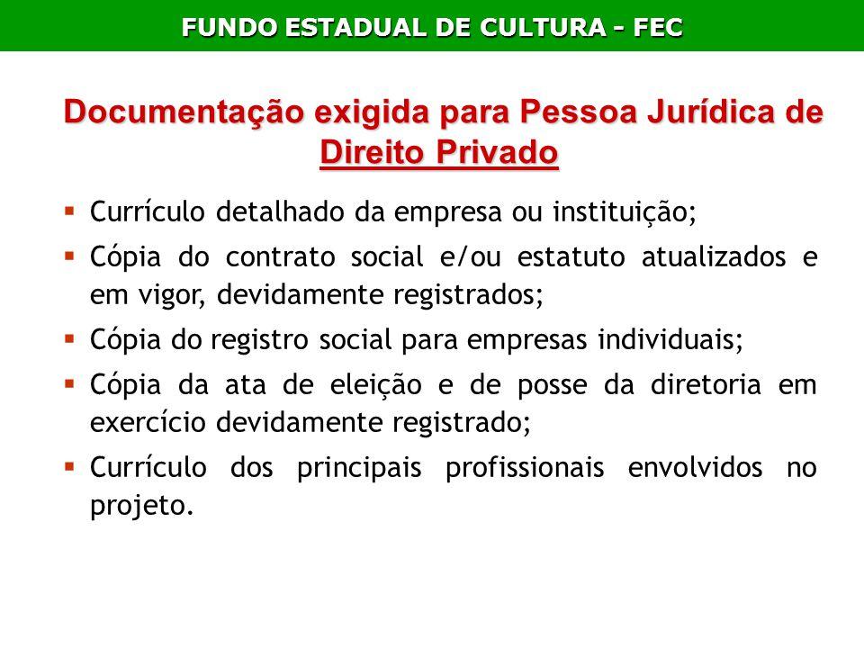 Documentação exigida para Pessoa Jurídica de Direito Privado